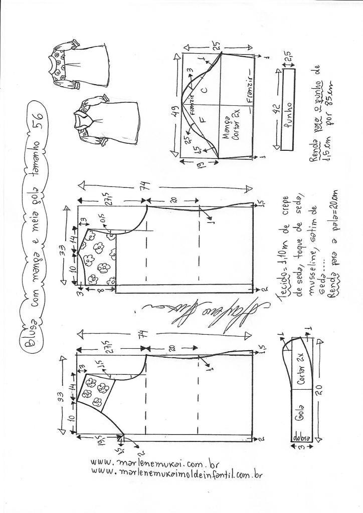 Blusa manga fofa e meia gola | DIY - molde, corte e costura ...
