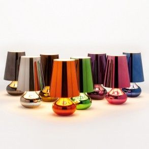 Kartell Cindy Table Lamp. Bright metallics add gloss and glamour to every home. www.williedugganlighting.com/shop/kartell-italy