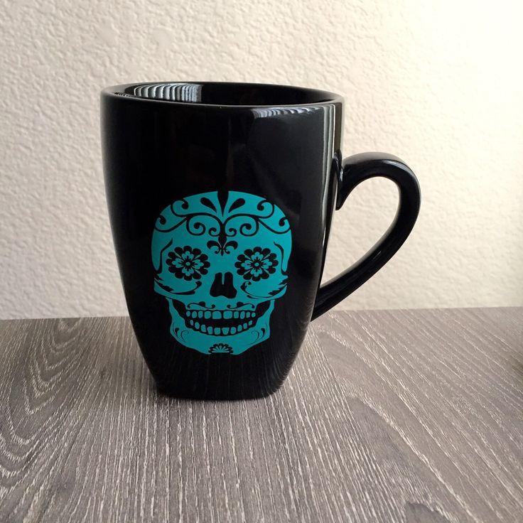 Sugar Skull Mug, Day of the Dead mug, Dia De Los Muertos, his & hers mug, Skull, Halloween decor, Halloween mug by MadAboutZ on Etsy https://www.etsy.com/listing/250784522/sugar-skull-mug-day-of-the-dead-mug-dia