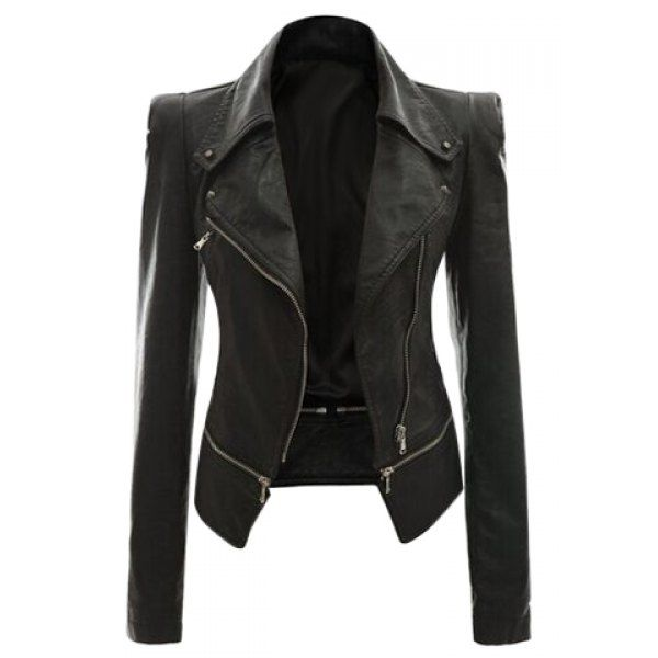 $29.70 Fashionable Turn-Down Collar Zippered Long Sleeve PU Leather Jacket For Women
