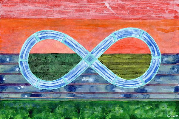 Eternity Symbol Over Flat Landscape by Heidi Capitaine