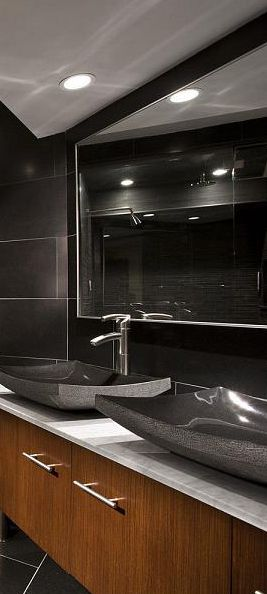 Stone And Wood Make A Dark Masculine Interior: Black, White And Wood Tones