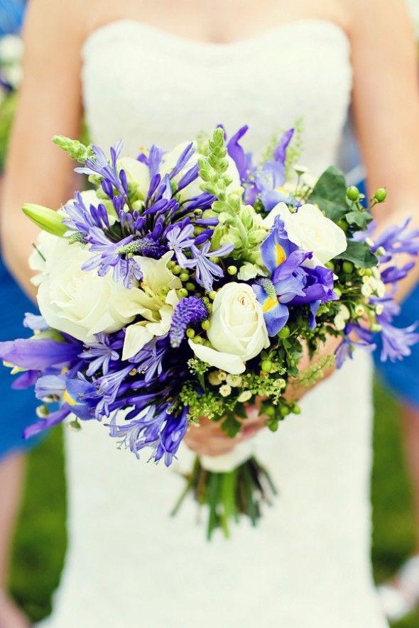 Beautiful combination of white, soft purple and blue bridal bouquet #whiteandsoftbluebridalbouquet #heavenscentfloradesign