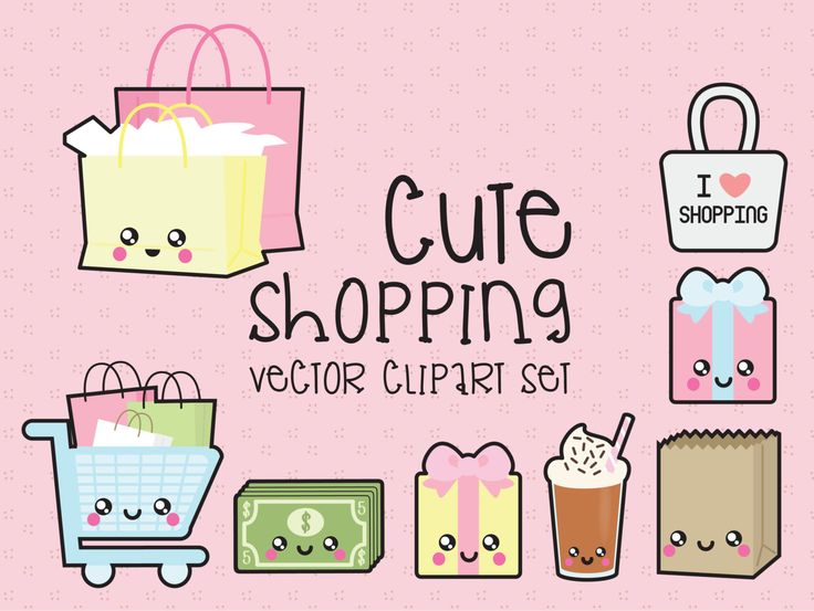 Premium Vector Clipart - Kawaii Shopping Clipart - Kawaii Shopping Clip art Set - High Quality Vectors - Instant Download - Kawaii Clipart (2.99 USD) by LookLookPrettyPaper