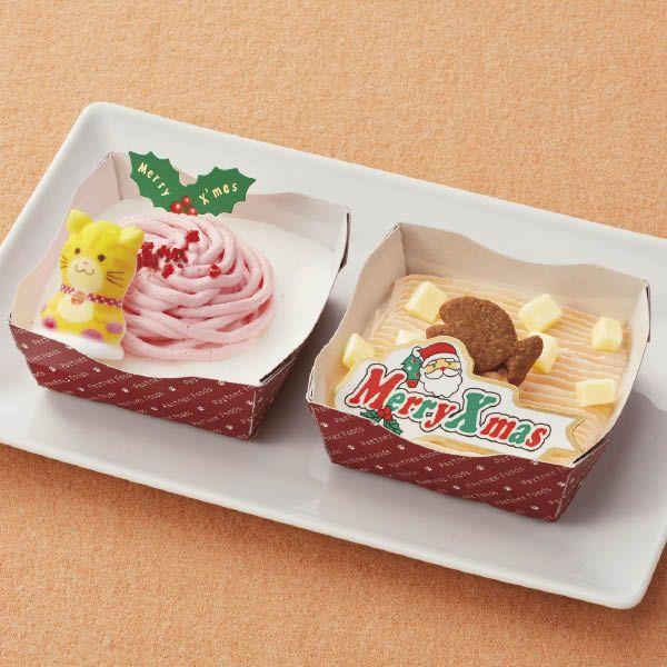 ペットライブラリー ねこちゃん用ケーキセット 獣医師と一緒に開発 コラーゲン入り ヨーグルトムースとチーズをのせた鰹節 入りのムースのケーキセットです クリスマスパーティーメニュー ケーキ クリスマスケーキ