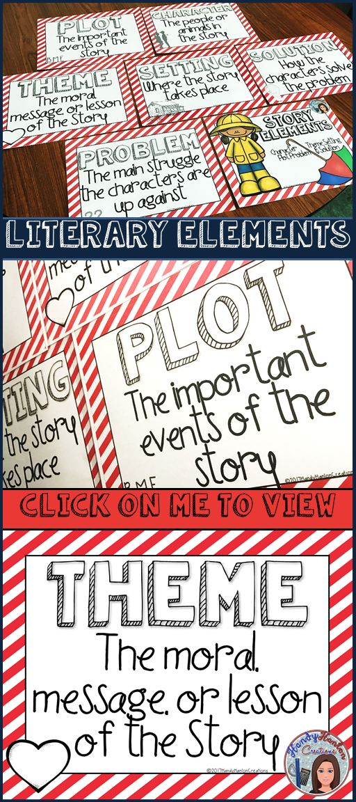 Literary Elements of a Story Posters For Your Upper Elementary Classroom Bulletin Boards.