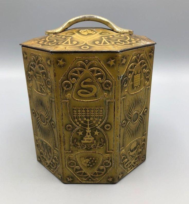 Vtg Regal Crown Tin Jewish Hanukkah Menorah Murray Allen Embossed Gold Tone