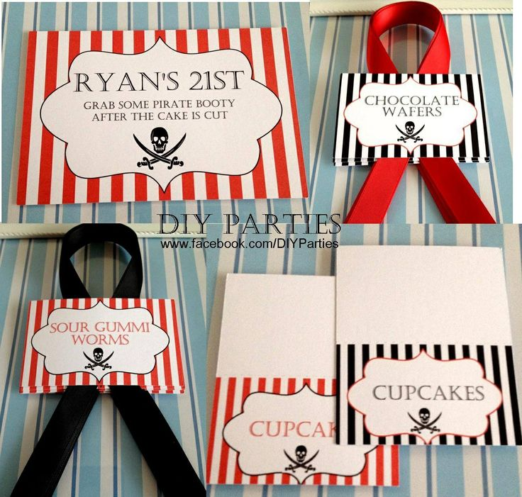 Table sign, candy buffet jar labels & tent cards  - pirate theme - red/black.  Find us on Facebook www.facebook.com/DIYParties