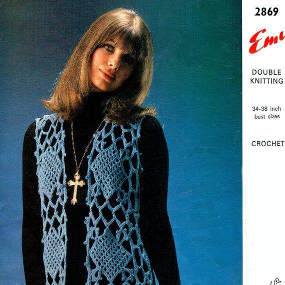 PDF Vintage Womens Ladies Waistcoat  Crochet Pattern 1970s Emu