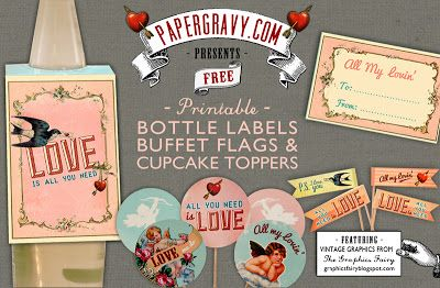 The Graphics Fairy - Crafts: Valentines Printables - Bottle Labels, Flags &