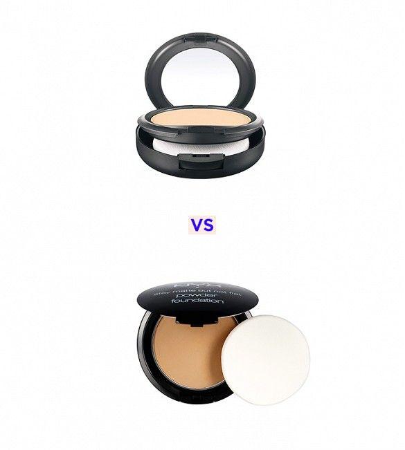 MAC Studio Fix Powder Plus Foundation ($27) vs Nyx Cosmetics Stay Matte But Not Flat Powder Foundation ($10) #dupe