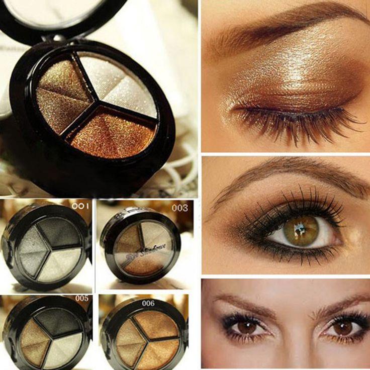 3 Colores Profesión Naturaleza Mate Brillo Nude Maquillaje Desnudo de Sombra de Ojos Cosméticos Sombra de Ojos Palettle Con Espejo Lápiz de Ojos