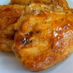 Honey Glazed Chicken recipe  1/2 cup honey  1/4 cup Heinz 57 sauce  2 tbsp butter  2 tbsp Frank's Hot sauce    Combine all in a small saucepan and let simmer until you're ready to use.  I basted the chicken 3 times on the grill and kept a little for dipping.