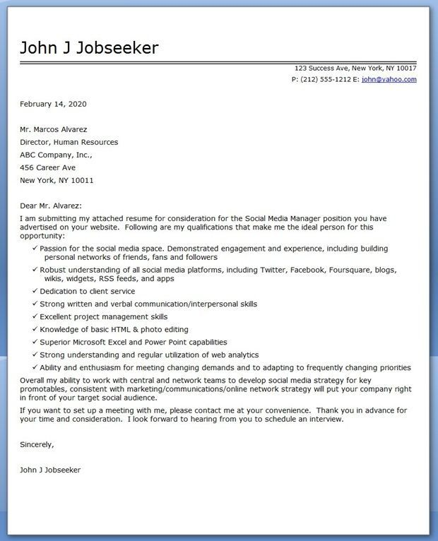 Social Media Manager Cover Letter Sample | Cover letter ...