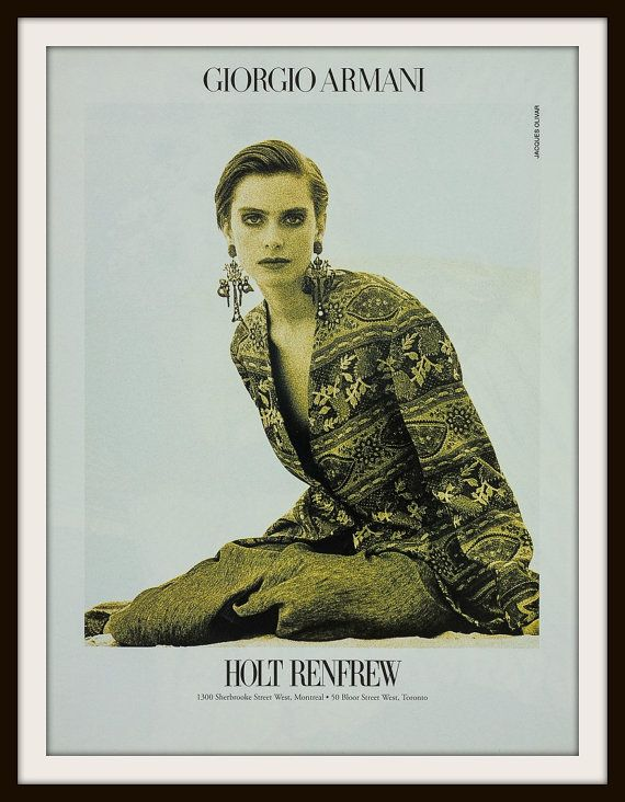 1990 Giorgio Armani Holt Renfew Advertisement. Vintage Giorgio Armani ad. Vintage Holt Renfew ad. Vintage fashion ad.