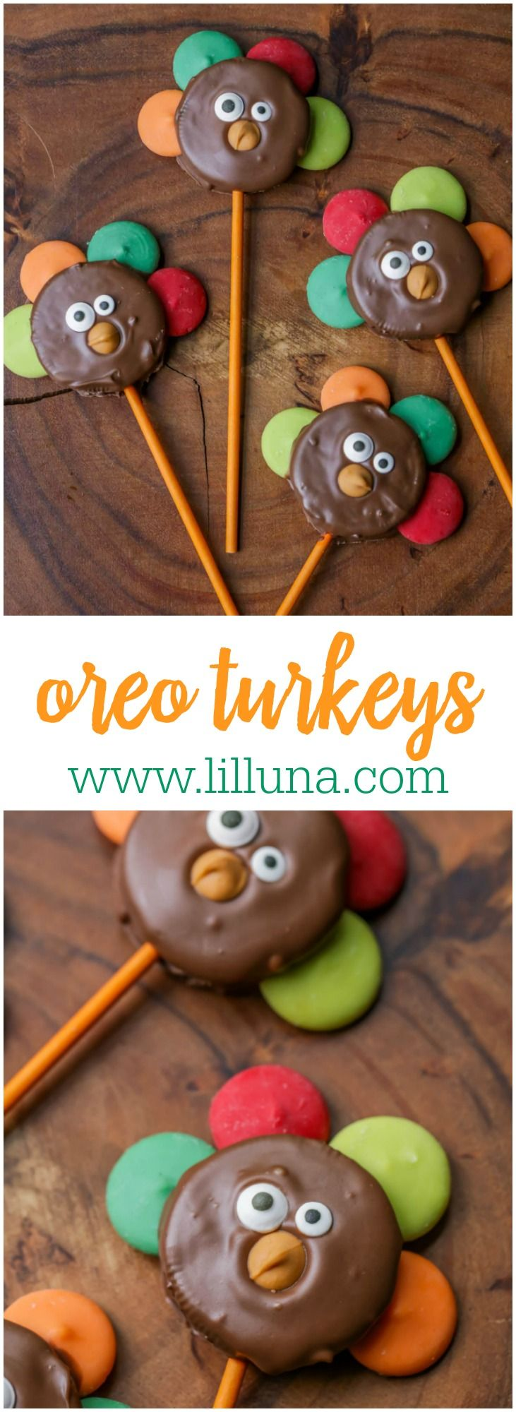 Oreo Turkeys - chocolate dipped oreos with candy melts as feathers, candy eyes and a butterscotch chip beak. Kids love these!