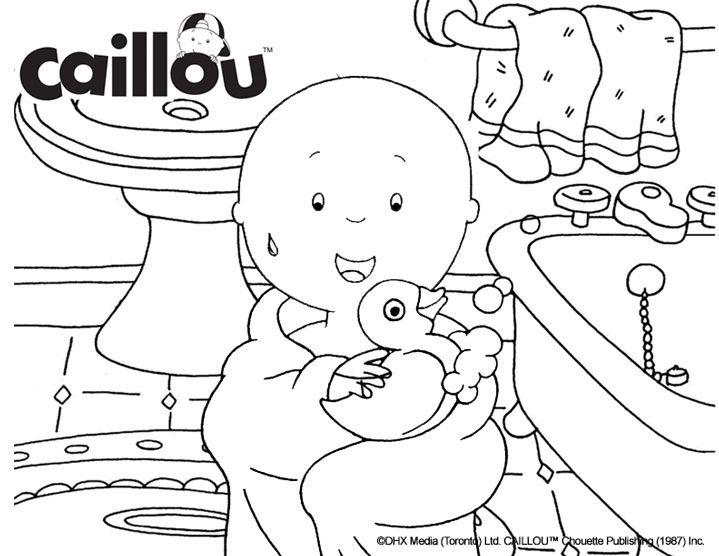 Caillou Coloring Sheet Bubble Bath Fun