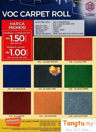 Selangor Other Services Klang Alaqsa Carpets Voc Office Carpet Flooring Price Low Prices From Rm 0 99 Sqft Only We Offer Hi