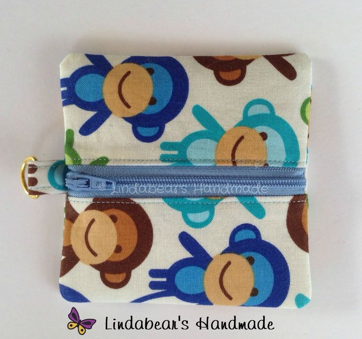 Made by Lindabears Handmade Coin Pouch - Monkey fabric