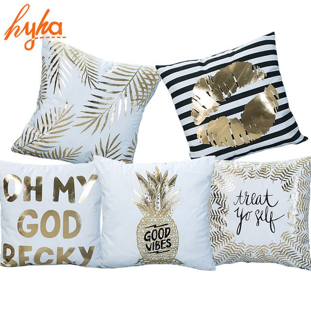 Hyha Bronceado Funda de Cojín Impreso Piña Tropical de Lujo Sábanas de Poliéster Casa Funda de Almohada Almohadas Decorativas para el Sofá