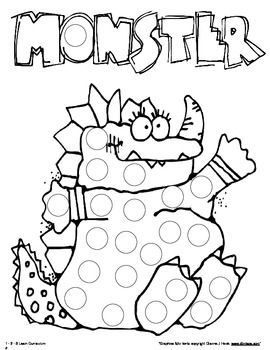 monster paint dauber sheets 11 pages pdf - Painting Sheets