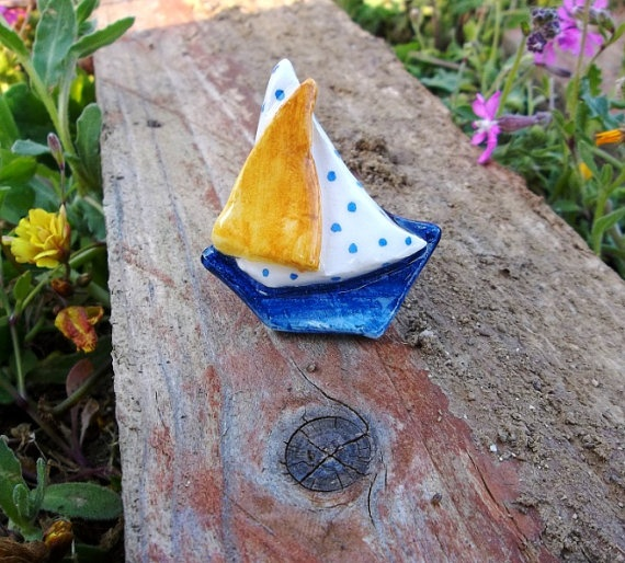Ceramic sailing boat ring by IoannasVeryCHic on Etsy, 14.00
