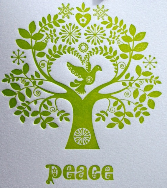 """Fluid Ink Fine Letterpress of Australia : Letterpress Christmas Card Scandinavian Folk Style Green Tree of Life """"Peace"""""""