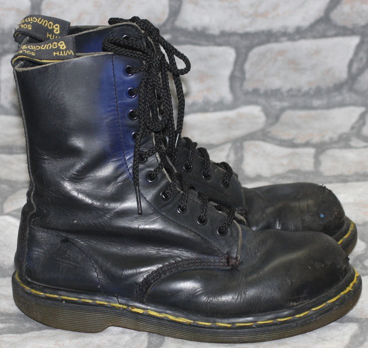 Made in England Dr Martens Martins Black 8 Hole Steel Toe Skinhead Boots 5 38