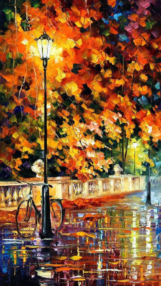 """Lonely Bicycle  —  Oil Painting On Canvas By Leonid Afremov. 20""""x36""""  Wall decor #Impressionism"""