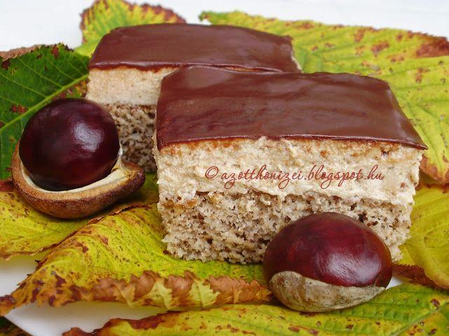 Gesztenyés szelet (cake with chestnut paste topping)