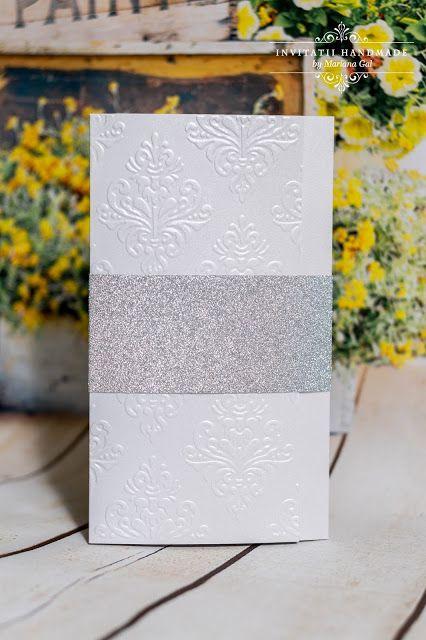 INVITATII HANDMADE by Mariana Gal: Invitatie alb/ argintiu