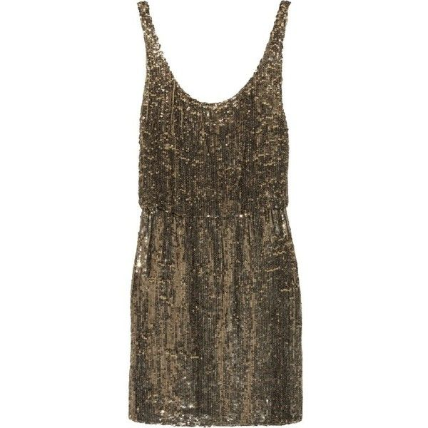 Alice + Olivia Gabby sequined silk mini dress (1.090 BRL) ❤ liked on Polyvore featuring dresses, vestidos, robe, alice olivia dress, short sequin cocktail dresses, sequin cocktail dresses, brown sequin dress and sequin dresses