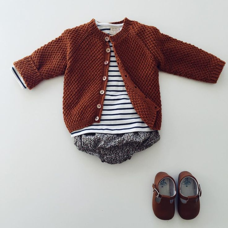 A Ministrikk styling. | Ministrikk Cognac Klassic Cardigan sweater over maritime striped jumper; check out Marie Puce Paris Liberty Bloomers | Pattern: #ministrikk http://ministrikk.no/  |  https://www.mariepuce.com/en/children-clothing/6067/liberty-bloomer.html