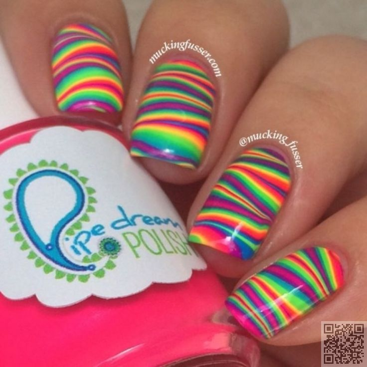 23. #Striped Rainbow - This is What Striped Nail Art #Looks like: 29 #Fabulous Ideas ... → #Nails #Stripe