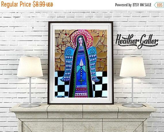 35% Off Today- DIGITAL Print File - Angel Virgin of Guadalupe Mexican Folk Art, Instant Art Print, Printable Digital Instant Download, Mexic