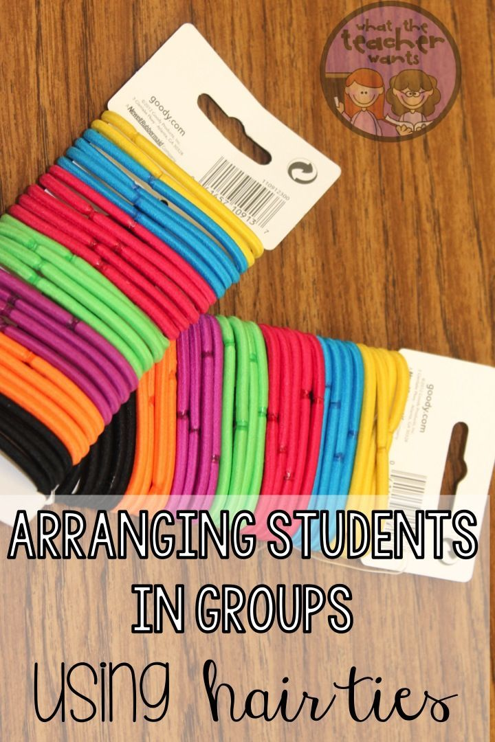 A fun idea for grouping students! Use colored hair ties to put students into partners or groups!