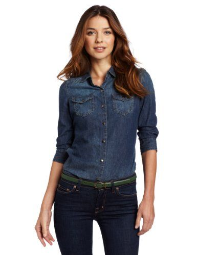 Calvin Klein Jeans Women`s Petite Fitted Denim Shirt for ... - photo#48