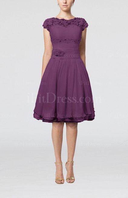 Raspberry Cinderella Scalloped Edge Short Sleeve Chiffon Knee Length Lace Bridesmaid Dresses - iFitDress.com