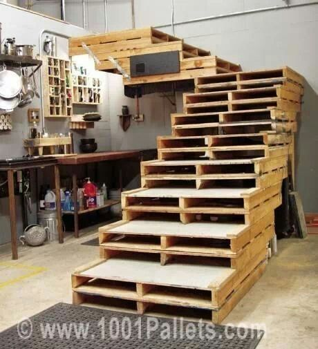9 Awesome Pallet Projects Stairs in the studio to lead to high up storage space, also opening can be used for book/magazine storage or other supplies as well as stairs.