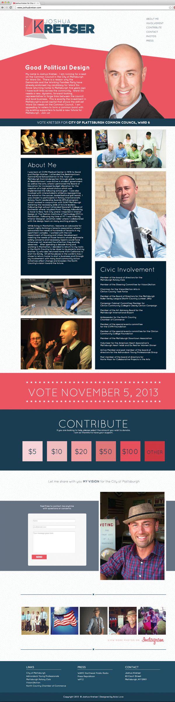 Joshua Kretser Political Campaign   Logo & Web Design by Mikey Lemieux, via Behance