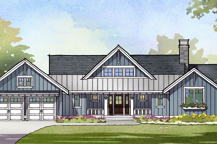 Ranch Style House Plan - 3 Beds 2.5 Baths 2679 Sq/Ft Plan #901-128 Exterior - Front Elevation - Houseplans.com