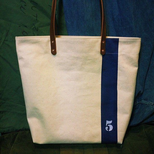 "Made to order vintage Japanese off white canvas tote bag. Big size,vertical navy line, stenciled ""5"" INDBNP_0159 W48cm H39cm D14cm Handle 58cm"