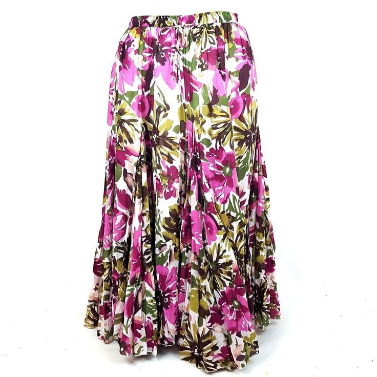Jessica London  Festival Skirt SIZE 18 Boho Floral Pink Green Gored Maxi Hippie  #JessicaLondon #PeasantBoho