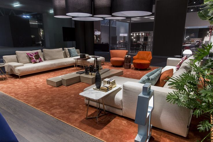 #blackcollection Area. Ronny #sofa, Hugo Centre #tables, Jammin orange #armchairs, Babar #red #coffeetable.