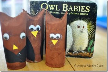 "Cute owls made with cardboard tubes ("",)"
