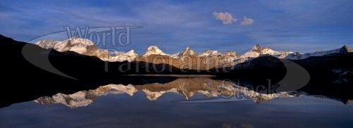 Panorama of Gran Paradiso 4061m reflecting in Lagi Trebecchi