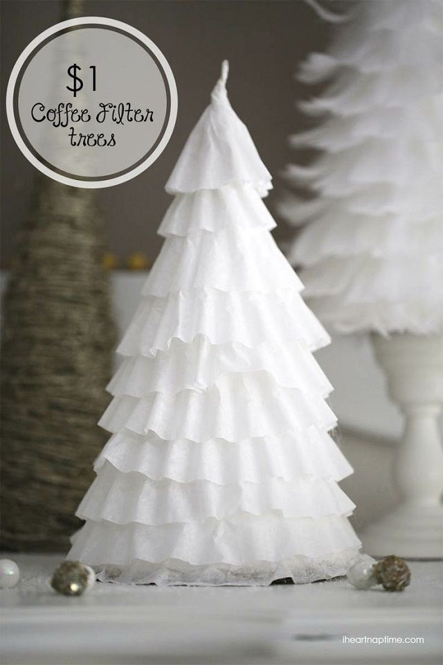 A really cheap table decoration - Coffee Filter trees - they look great and cost hardly anything.