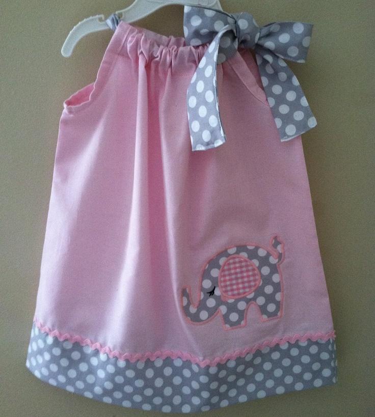 Beautiful Elephant in pink pillowcase dress.. $28.00, via Etsy.
