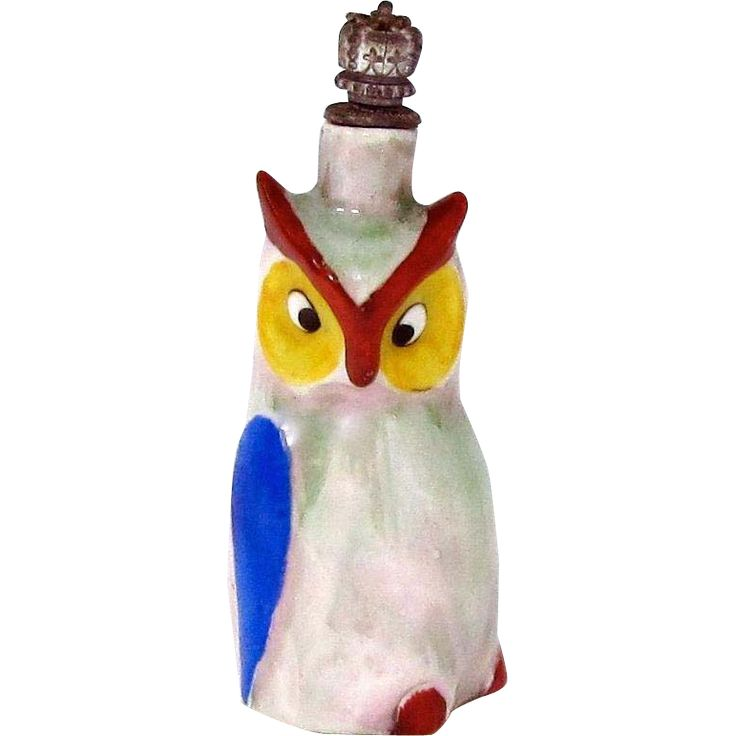 Art Deco Colorful Owl German Crown Top Figural Perfume Bottle from charmalier on Ruby Lane