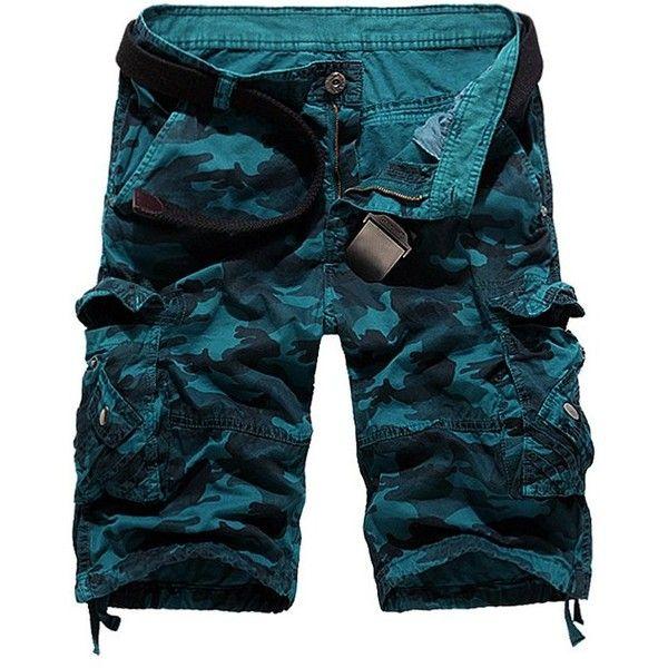 Zipper Fly Camouflage Stud Embellished Cargo Shorts ($18) ❤ liked on Polyvore featuring men's fashion, men's clothing, men's shorts, mens zipper pocket shorts, mens camo cargo shorts, mens camo shorts, mens camouflage cargo shorts and mens cargo shorts